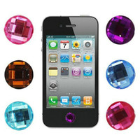 Wholesale diamond crystal designs home Key Button Sticker for Apple iphone g S ipad ipod itouch retail bag