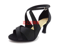 Wholesale Crazy sales Professional adult female Latin dance shoes dance shoes cm heel silverand black satin hy