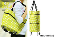 Wholesale Foldable dual purpose bags Tugboat bag Travel shopping bag Oxford cloth with lovely dots