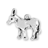 animal charms - a antique silver donkey animal charm pendants
