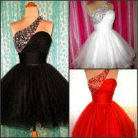 Charming real picture!one shoulder beads ruffle a- line red p...