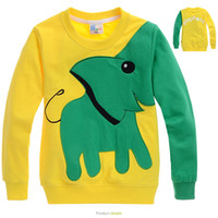 long sleeve yellow t-shirts - Cartoon children yellow T shirts baby boy Elephant long sleeve t shirt kids tops