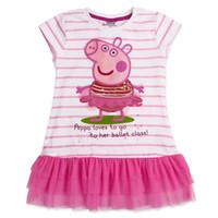 Wholesale LU1 Nova kid wear new summer hot Peppa pig girl applique sequin dress tunic top