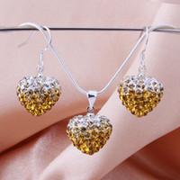 Wholesale shamballa jewelry Mix color Silver Heart crystal Beautiful Cute Earring Necklace set