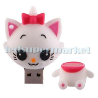 Wholesale Cute white cat Model Genuine Full Capacity USB Flash Memory Stick Pen Drive GB U disk