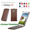 hot press slim case Genuine Leather for Samsung Galaxy S4 SIV i9500+screen protector moq 1pc