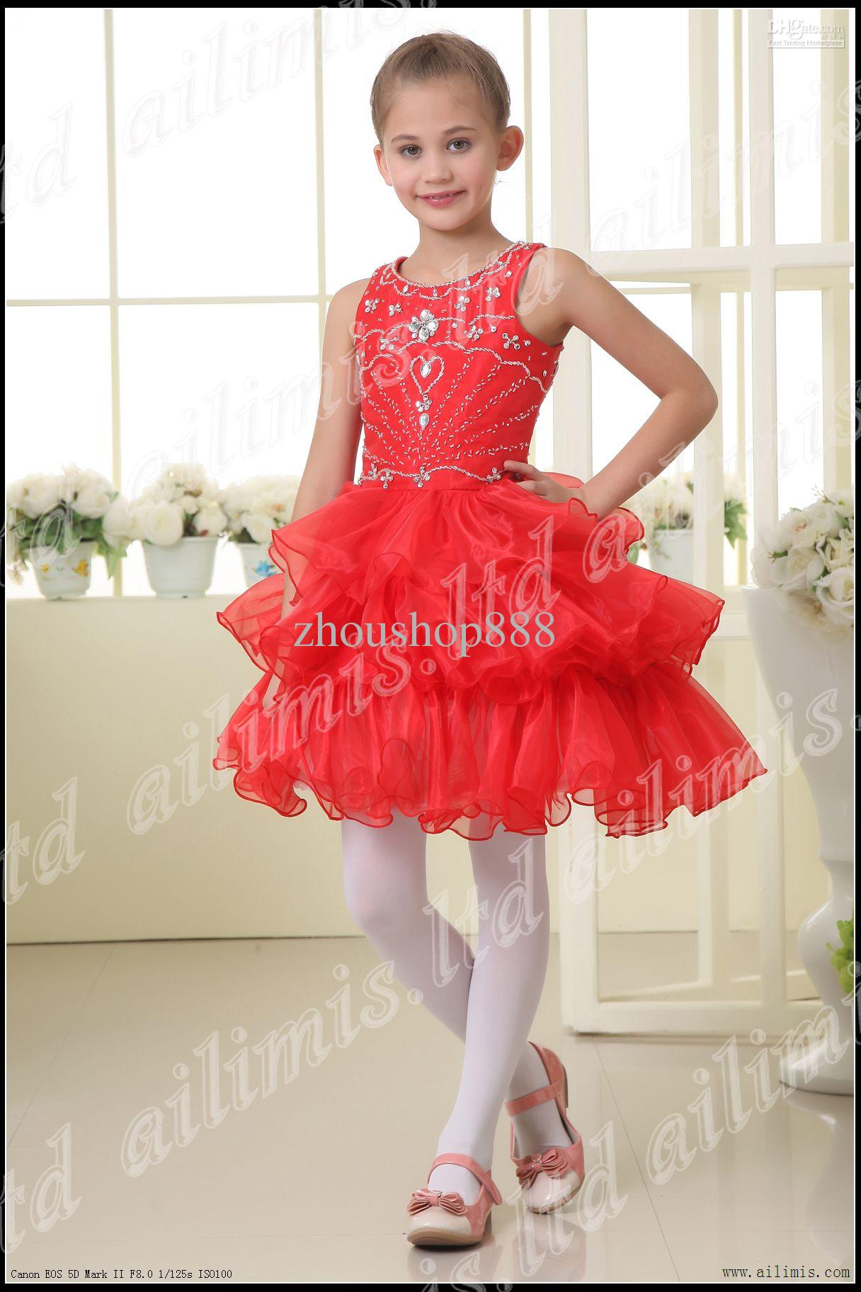 Top Grade Red Girl Kids Pageant Dress Bridesmaid Dance Party ...