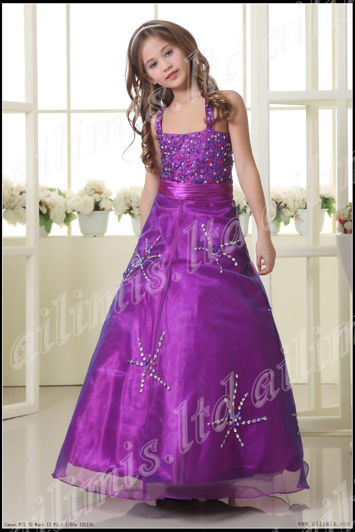 Hot Sale Purple Spaghetti Girl Kids Pageant Dress Bridesmaid Dance ...