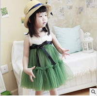 Wholesale Toddler Girls Summer Lace Tutu Dress Kids Ribbon Tank Dress Children Fashion