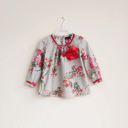 Wholesale Children s girls printed flower cotton shirts kids girl spring autumn floral vintage beige blouse