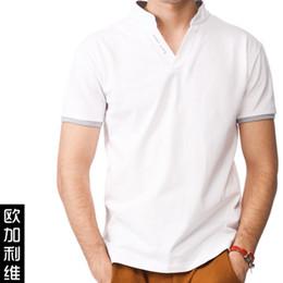 2017 de manga corta cuello en v Los hombres ocasionales de la camiseta de los hombres del V-cuello de los hombres más la camiseta delgada de la corto-manga del tamaño de manga corta cuello en v Rebaja
