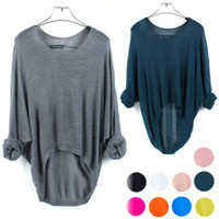 womens jumpers - New Batwing Womens Ladies Casual Loose Asymmetric Knit Sweater Top Cardigan Sweater Jumper Pullover