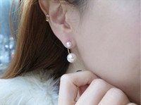 Wholesale 6pair White Imitatio Pearl Earrings Two Pearls Silver Needle Earrings Studs WL