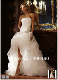 Wholesale New Organza and Tulle High Low Ball Gown with Beaded Flower Style SPK470 Wedding Dresses