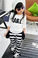 Wholesale Spring Summer Striped T shirt harem pants children s clothing suit