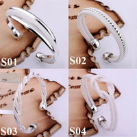 Wholesale Promotion Mix Styles Kinds Silver Bangle Bracelet Jewelry Mixed Charms Womens Bangle