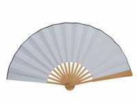 Wholesale Blank White Hand Fans DIY Wedding Fans Chinese Decorative Fan Silk Folding Fans Free