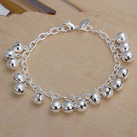 Women's Silver Plate/Fill Halloween Great Gift!925 Silver Lovely Baby's Bells Charms Bracelet Girl lovely Bracelet 20pcs