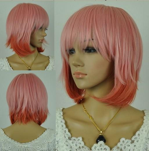 Short Pink Anime Wig Cosplay Wigs Costume Hair Wig Wig ...
