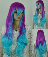 Girl anime wigs cheap - Long Multi Color Anime wig Cosplay Wigs Costume Hair wig Cheap