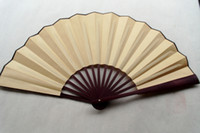 Wholesale Plain Color DIY Hand Fans Chinese Silk Fan Folding Decorative Fans Dance Fan Free