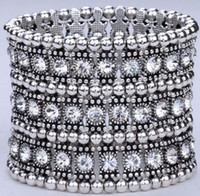 Alloy Bangle  1Pcs Luxury Antique 3 Row Clear Crystal Silver Tone Stretch Bracelet (002543)