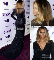 Wholesale 2015 Hot Sale Celebrity Prom Dresses V Neck Long Sleeves Sequined Mermaid Trumpet Black Evening Dress Formal Red Carpet Gowns AY