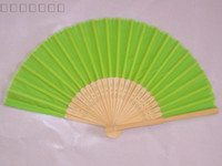 animations program - Pure Green Silk Folding Animation Fans DIY Fine Art Painting Program