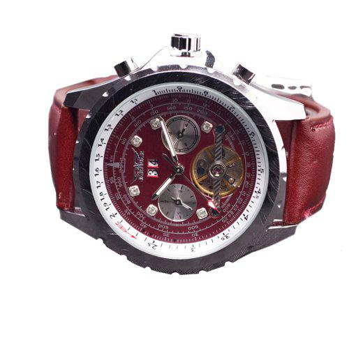 jaragar luxury men leather watch tourbillon dive stainless red jaragar luxury men leather watch tourbillon dive stainless red mens mechanical day date wristwatches shoes online shopping online watches from home