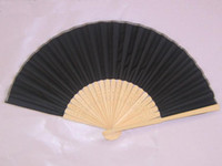 Wholesale Plain Black Hand Fans DIY Silk Folding Fan Chinese Dance Fans Free