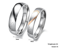 Wholesale Fashion Couple Love Heart Stainless Steel Wedding Engagement Bands Promise Ring