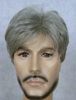 Wholesale cheap NEW pretty men s short Gray full wig Hairnet