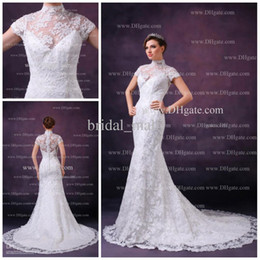 Wholesale 2013 Fashionable Charming short sleeves appliqued long train white lace wedding dress AK