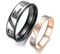 Wholesale New Lover s Rings Titanium Crystal Couple Engagement Ring Mix Size Stainless Steel Jewelry Gift