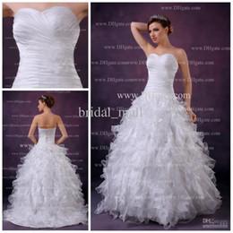 Wholesale sweetheart neckline ruffled backless sweep train organza ball gown wedding dress AK
