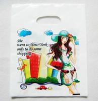 achat en gros de vêtements plastique filles-2013 100pcs fille achats 30 * 40cm ( 11,8 & amp; quot ; * 15,7 & amp; quot ; ) Les vêtements des sacs en plastique cadeau sac à main pochette