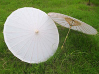 Wholesale hand made inches solid white paper parasols Bridal wedding parasols Chinese straight bamboo umbrellas DIY painting umbrella