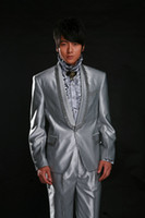 Wholesale the hot sale style of custom made groom wear for wedding shiny suits two pieces suits NO