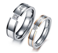 Wholesale Lover Rings My Love Titanium Crystal Couple Engagement Ring Mix Size Stainless Steel Jewelry gift