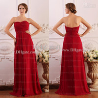 Wholesale 2015 Cheap Bridesmaid Dresses Ruched Sweetheart A line Chiffon Red Bridesmaids Gowns Floor Length Lady s Formal wedding Party Dress HY