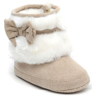 Wholesale 20 OFF pairs First Walker Shoe Khaki baby bow ugg boots Toddler shoes Baby girl shoes