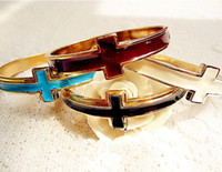 Wholesale New Bohemian Cross Bangle Bracelets Candy Color Bangles Fashion Accessories LOTSZ186