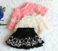 Wholesale Girl Skirt Tutu Fashion Chiffon Skirts Childrens Cute Embroidered Lace Princess Skirt Tiered Skirts