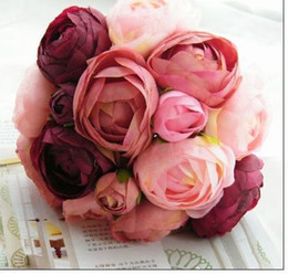Wholesale Wedding Favors Wedding Bouquet Sweetheart Silk Flower Bride Holding Artificial Flowers