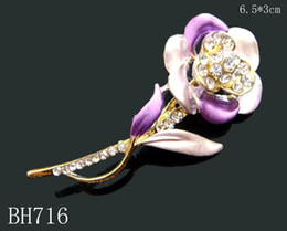 Wholesale hot sell Gold plating Oil painting Zinc alloy rhinestone girl flowers Brooches mixed color BH716