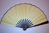 Wholesale Plain Yellow Folding Silk Decorative Hand Fans DIY Fine Art Painting Programs