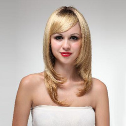 Wholesale Capless long Straight flax yellow Synthetic Wig cm