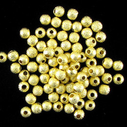 Gold Plated Round Brass Stardust Spacer Beads DIY Copper Jewelry Findings 4 6 8 10 12mm Pick