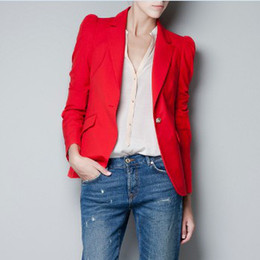 Wholesale West Style Ladies Work Suit Long Sleeve Slim Smart Suit One Button Leisure Outers Black Red Outwear