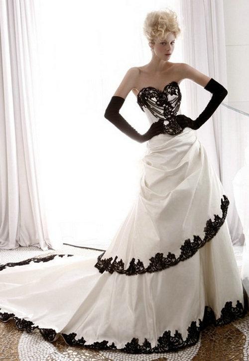 Wedding Dresses with Black Trim _Black Dresses_dressesss
